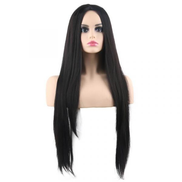 Long Synthetic Straight Wig Black for Women Natural Middle Part Synthetic Wig - naturehairs