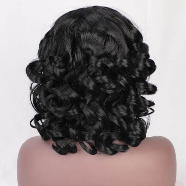 Short Curly Afro Wigs with Bangs Dark Brown Black Hair Synthetic Wigs for Women - naturehairs