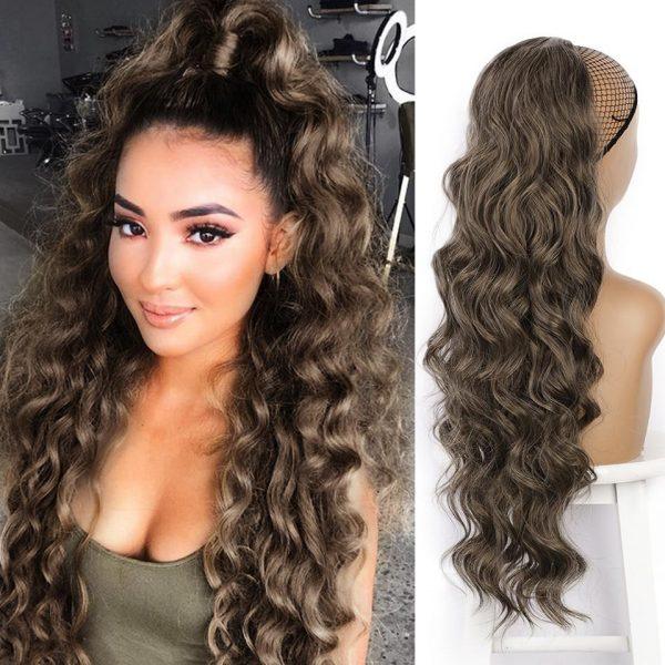 Synthetic Ponytail Hair Wigs Drawstring Long Black Body Wavy - naturehairs