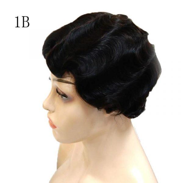 Short Pixie Cut Human Hair Wig Finger Wave Full Machine Human Hair Wigs - naturehairs