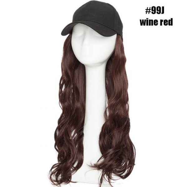 Synthetic Hair Extension with Cap 16inch Long Wavy Wig with Cap - naturehairs