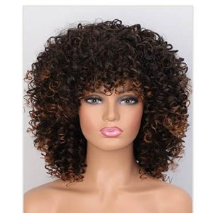 Synthetic Full Wig Afro Kinky Curly Wigs for Women Mixed Brown Black Short Wig with Bangs - naturehairs