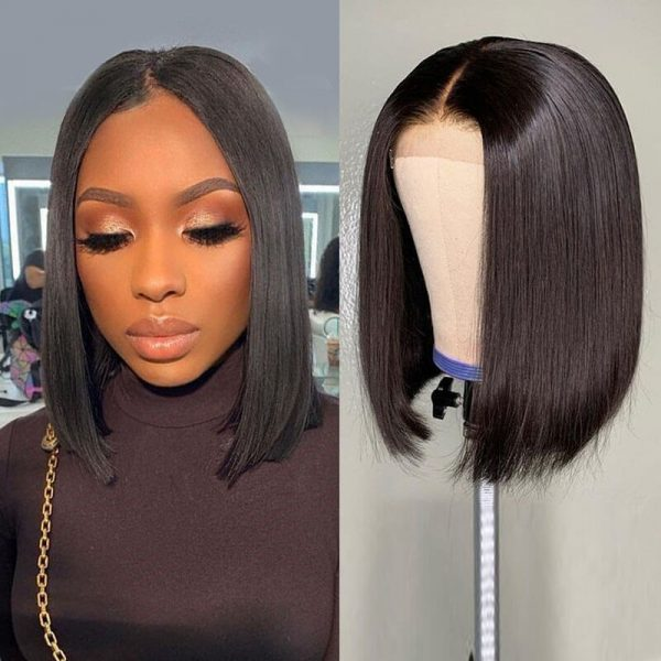 Short Straight Lace Front Human Hair Wigs (1)