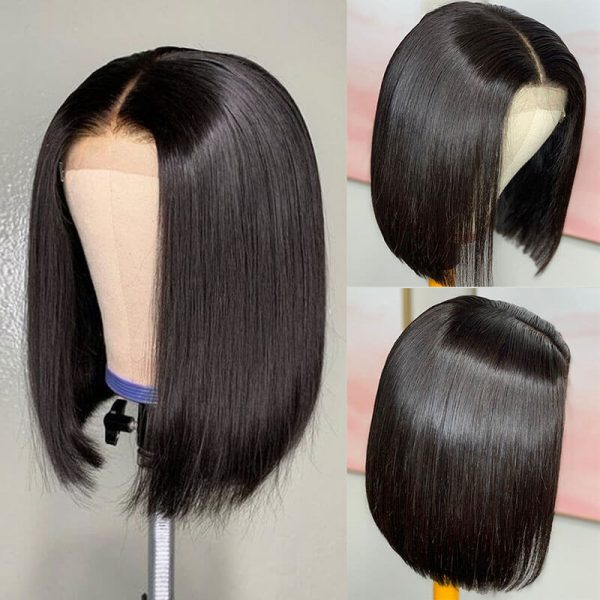 Short Straight Lace Front Human Hair Wigs (2)