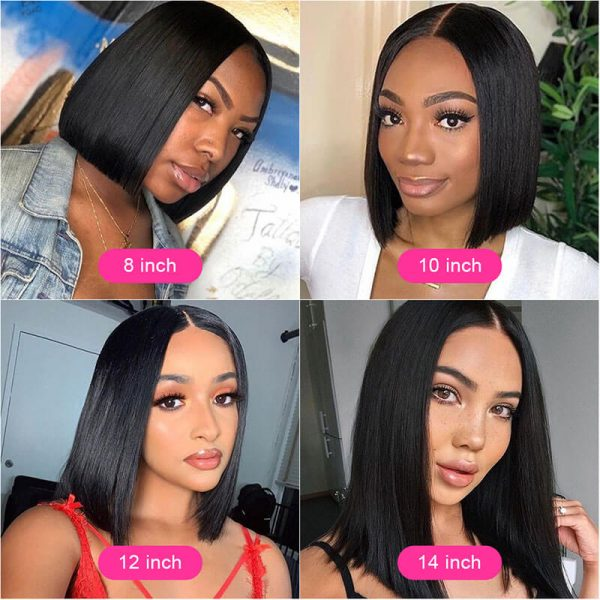 Short Straight Lace Front Human Hair Wigs (7)