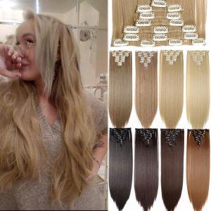 24inch 8pcs/set straight/wavy clip hair