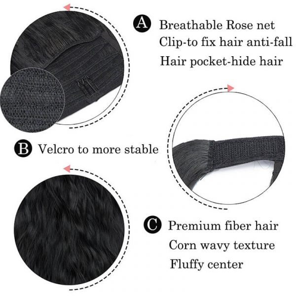 26inch synthetic clip in ponytail fluffy hairpiece