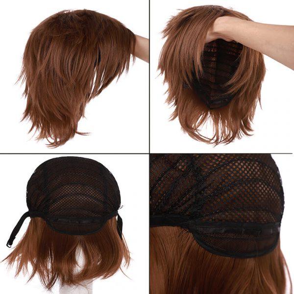 Short Wig Blue Brown Black Hair