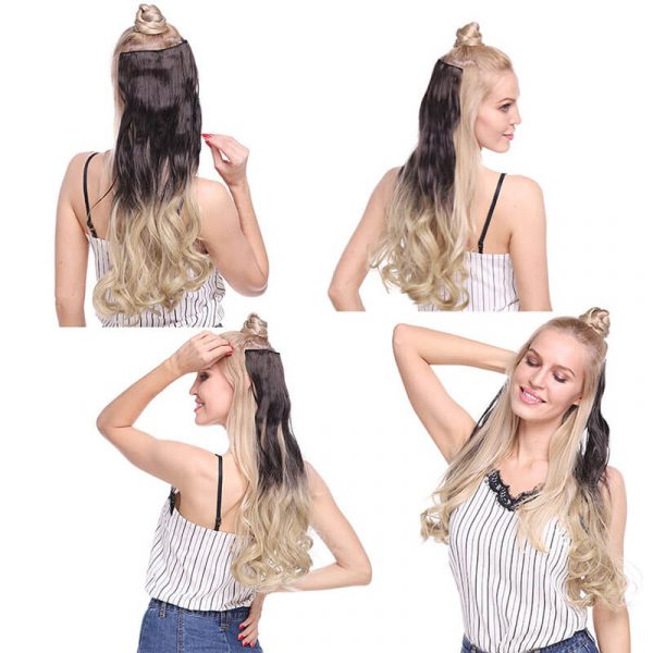 24inch ombre 5clips in one piece hair extension