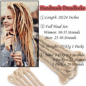 Dreadlocks Extensions Reggae Crochet Hip-Hop Synthetic Dreads Crochet Braiding Hair