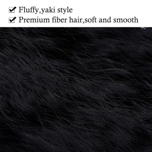 22inch Long Wavy Clip In One Piece Hair Extension Synthetic Yaki Style
