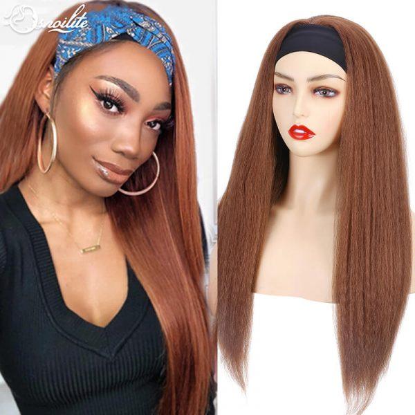 Yaki Headband Wig for Black Women Synthetic 24inch Long Hair