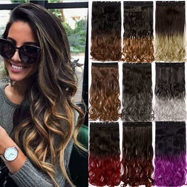 24inch curly 5 clips in one piece hair extension