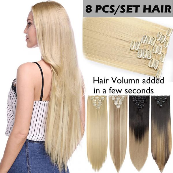 26inch straight 8pcs/set clip hair extension