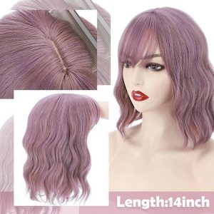 14inch Pink Wavy Short Bob Wigs Synthetic Hair