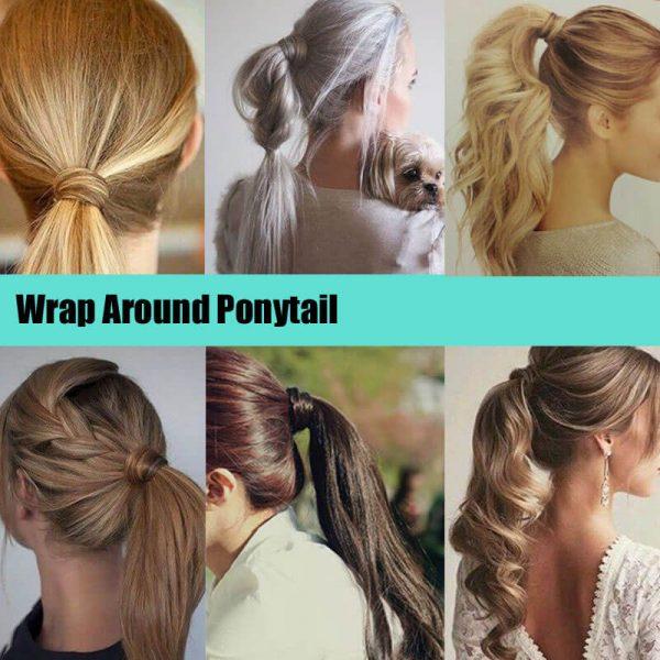 24ich straight wrap around clip in ponytail
