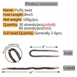 8inch 60strands/pcs Fluffy Twist Braiding Hair