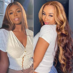 Body Wave Lace Front Wig Highlight Wig Human Hair