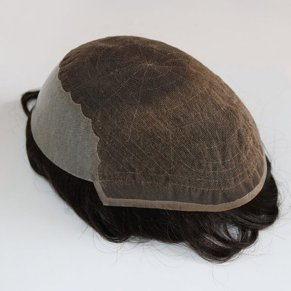 French Lace with Skin Poly Men Toupee